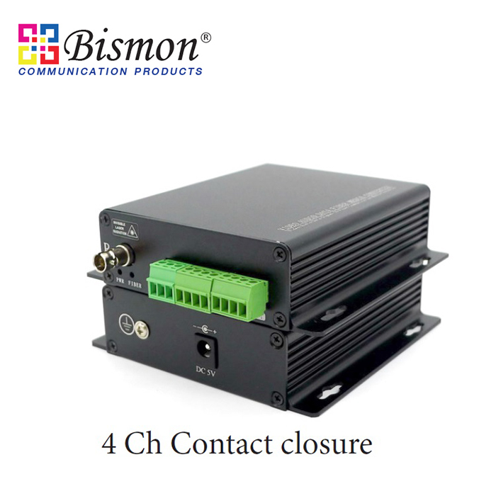 4-CH-contact-closure-to-Fiber-optic-Single-fiber-20KM-SM-FC-Connector