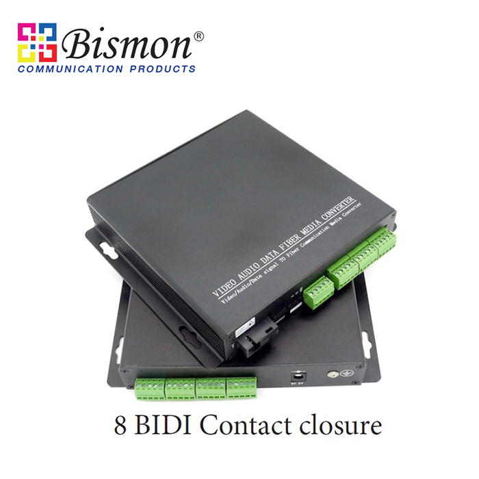 8-CH-BIDI-contact-closure-to-Fiber-optic-Single-fiber-20KM-SM-FC-Connector
