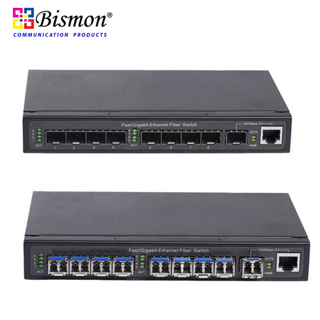 8-Port-Mini-GBIC-SFP-Slot-Fiber-optic-Switch-Uplink-1-GE-combo-port-Unmanaged