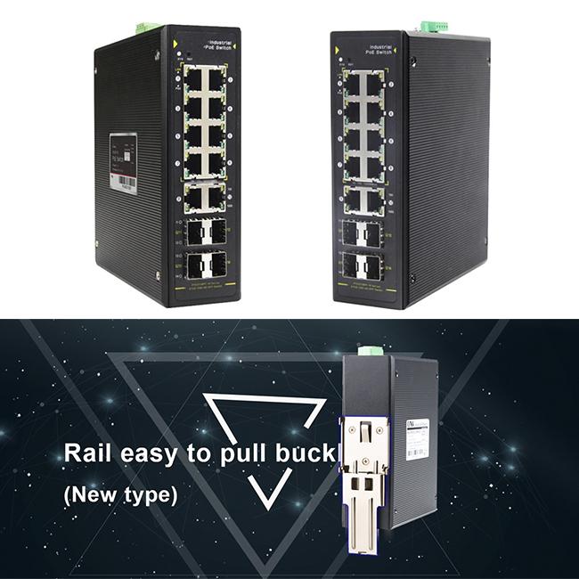 8 ports Gigabit PoE + 4 SFP slot Fiber Industrial Switch