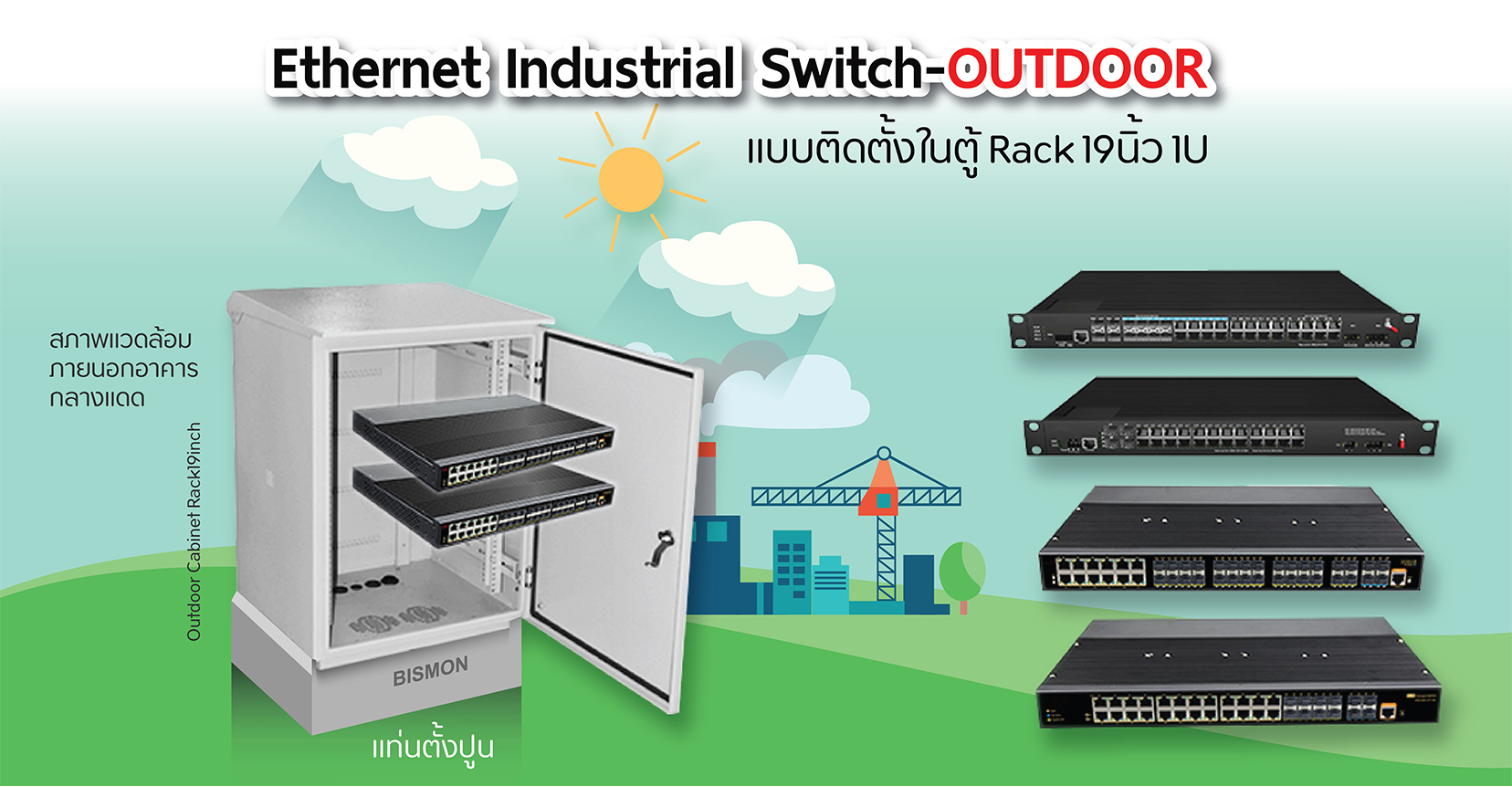 19 inch Industrial Ethernet Rackmount Switches แบบใช้งานภายนอกอาคาร(Outdoor)